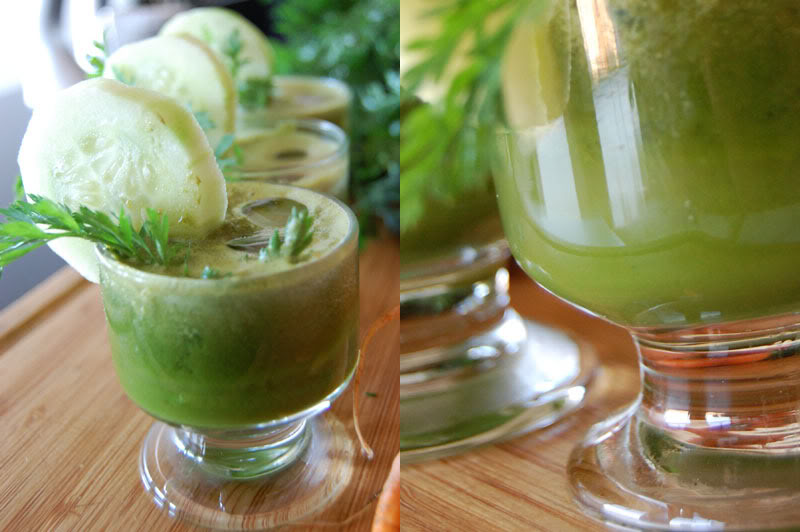 Green Juice Recipe with Carrot, Cucumber,  Tomato, Spinach, Dill and Jalapeño