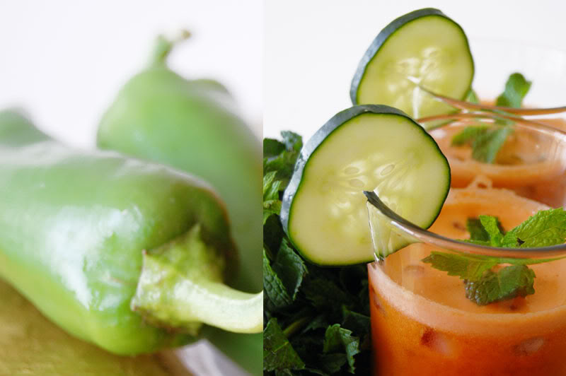 The Global Girl Juice Recipes: Golden beet juice with mint, tomatoes and Anaheim peppers.