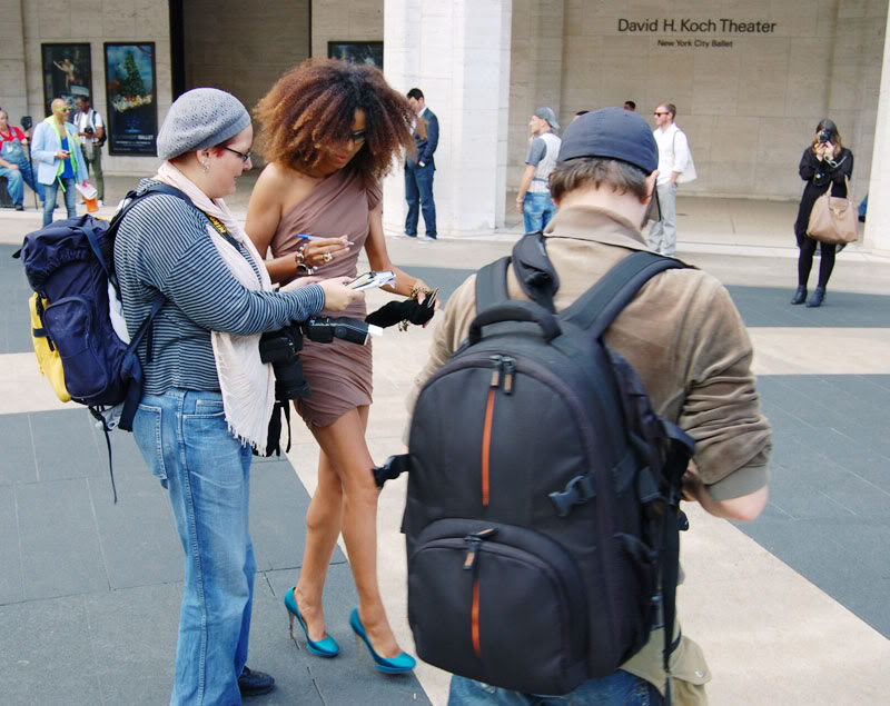 Ndoema The Global Girl arrives at the Carlos Miele Spring 2013 fashion show during New York Fashion Week. Ndoema wears a Christian Siriano asymmetrical dress, Nicholas Kirkwood shoes and Ralph Lauren sunglasses