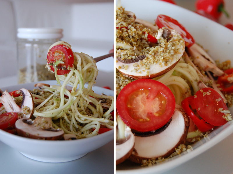 Zucchini pasta with vegan parmesan the global girl pumpkin seed parmesan on zucchini pasta raw vegan recipe dairy free pumpkin seed parmesan forumfinder Image collections