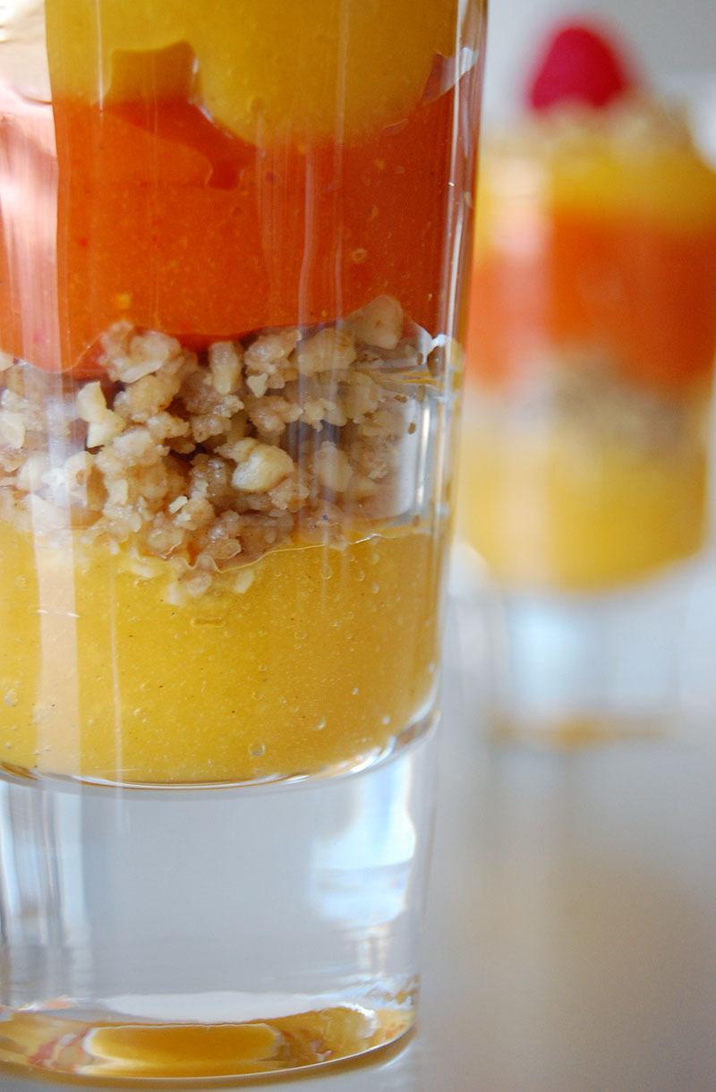 A Healthy Christmas Recipe by The Global Girl: Raw Vegan Mango/Raspberry Parfait with Walnut, Coconut and Cardamom Crumble