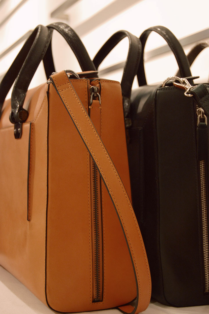 The Global Girl: Behind-the-scenes at Hever Leger by Max Azria Fall 2013 runway. Stunning accessories from the BCBG Max Azria Collection: rich leather bags in black and brown.