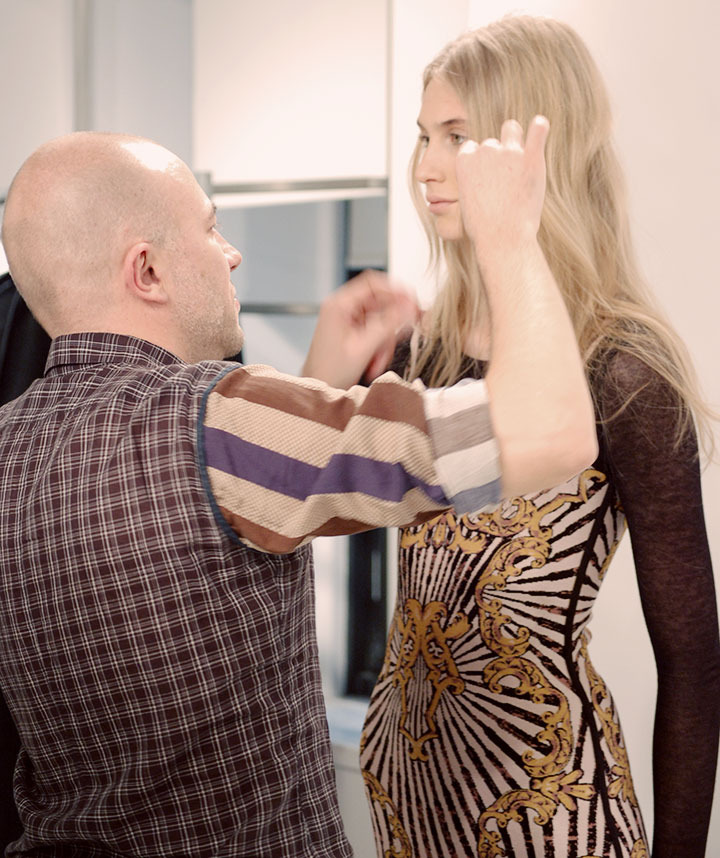 The Global Girl: Behind-the-scenes at Hever Leger by Max Azria Fall 2013 runway. Hair & Makeup tests with Creative Director Lubov Azria, lead hair stylist for Bumble and bumble Laurent Philippon and Val Garland for Sephora Pro.