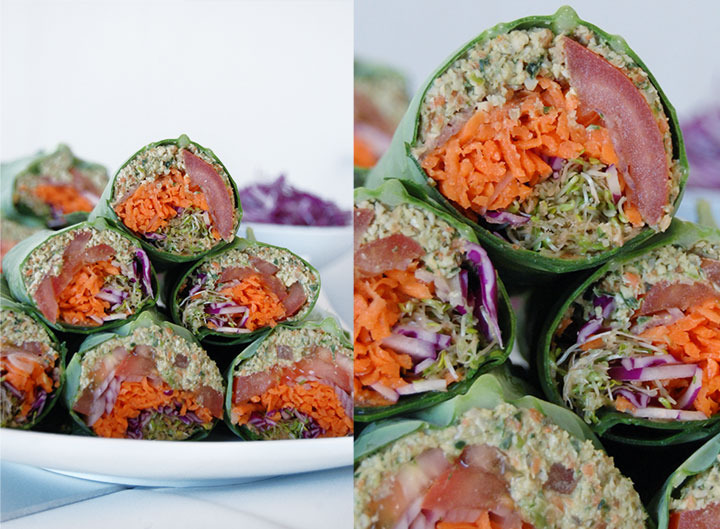 The Global Girl Raw Food Recipes: Raw Falafel Wrap in a Collard Green Leaf with carrot, sprouts, tomato, red cabbage  and red onion.