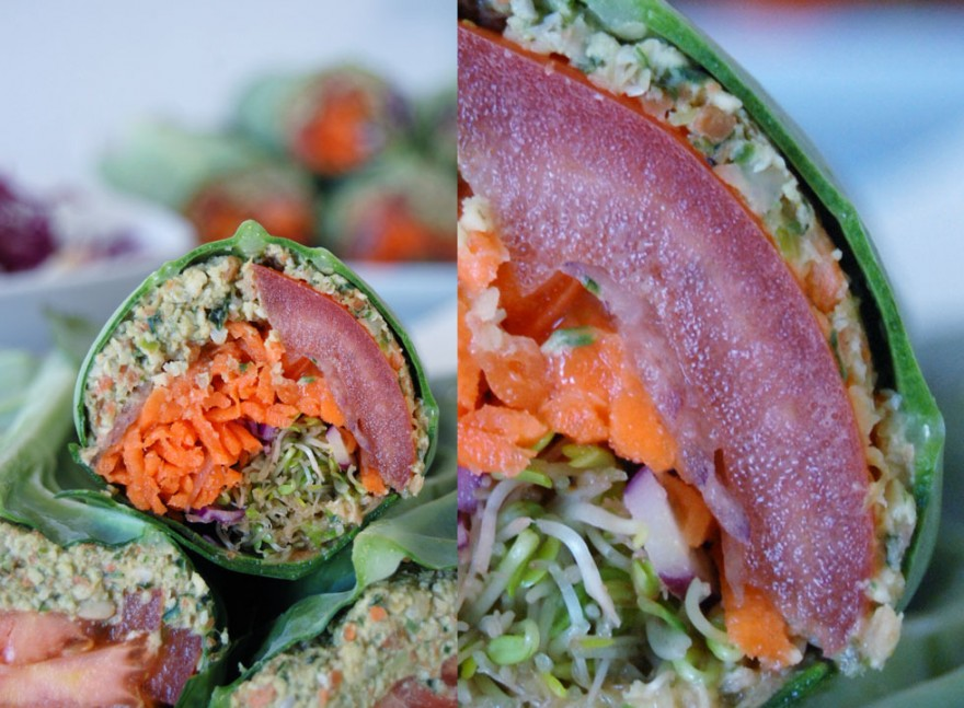tThe Global Girl Raw Food Recipes: Raw Falafel Wrap in a Collard Green Leaf with carrot, sprouts, tomato, red cabbage  and red onion.
