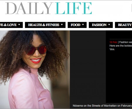 The Global Girl Press: Ndoema rocks red mirrored cat eye sunglasses in Daily Life Australia - New York Fashion Week