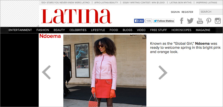 The Global Girl Press: Ndoema in Latina sporting a pink motorcycle jacket by Prada and LeSpecs cat eye mirrored sunglasses - New York Fashion Week Fall 2014
