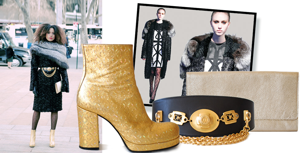 The Global Girl Daily Style: Ndoema rocks the Black and Gold winter look in a coat by African designer Mimi Plange, gold metallic go-go booties by Freelance, gold metallic leather clutch by Gérard Darel and chained belt by Donna Karan.