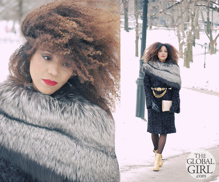 The Global Girl Daily Style: Ndoema rocks a Black and Gold winter look in a fur trimmed coat by Mimi Plange in snowy Central Park.