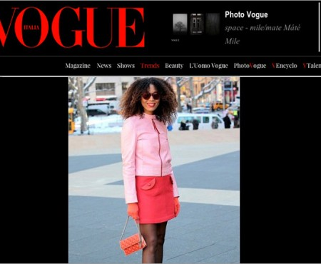 The Global Girl Press: Ndoema in Vogue Italia sporting a Prada pink leather jacket, Marc Jacobs miniskirt and quilted bag and LeSpecs cat eye mirrored sunglasses - New York Fashion Week Fall 2014