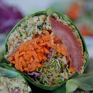 Raw Falafel Wrap in Collard Green Leaf