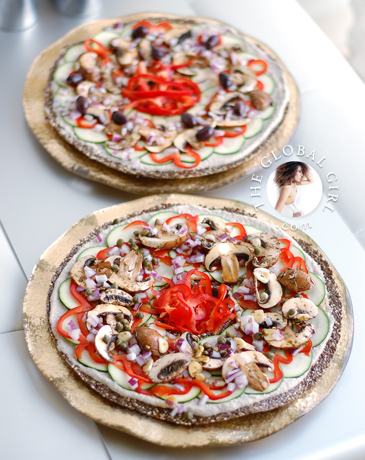 The Global Girl Raw Italian Recipes: Sunflower Ricotta Pizza on Gluten-Free Seed Crust