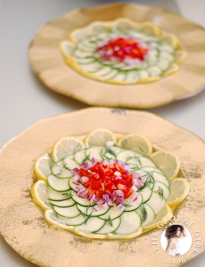 raw-zucchini-carpaccio-italian-raw-food-recipe-bell-pepper-lemon-dill-vegan-the-global-girl-theglobalgirl-2