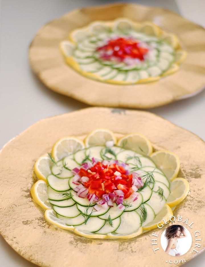 raw-zucchini-carpaccio-italian-raw-food-recipe-bell-pepper-lemon-dill-vegan-the-global-girl-theglobalgirl-2