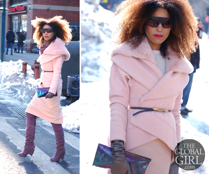 The Global Girl Daily Style: Ndoema rocks an all pink outfit with Kirkwood lavender thigh-high boots, matching hologram clutch bag and oversized Phillip Lim sunglasses as she arrives at Lincoln Center during New York Fashion Week.