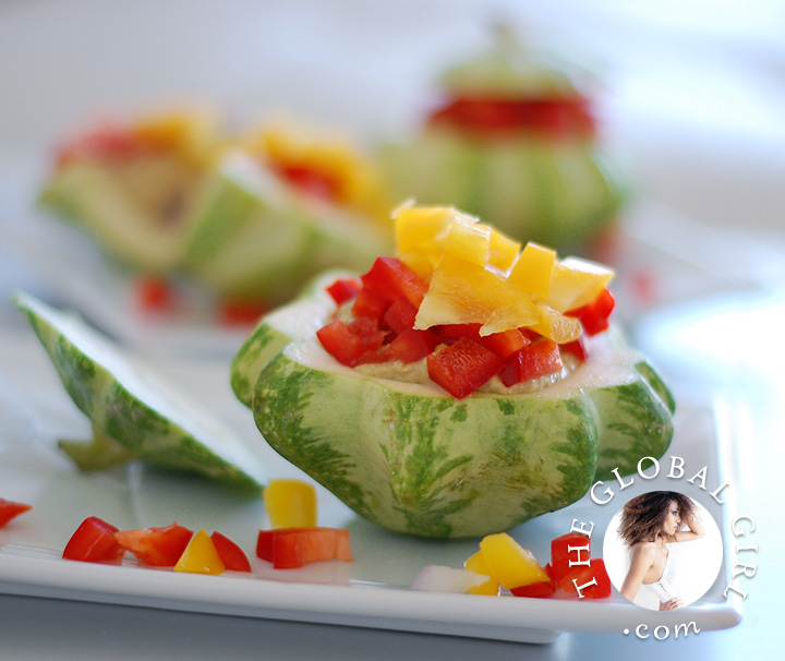 The Global Girl Raw Food Recipes: Raw stuffed baby squash with Italian pine nuts filling. This bite sized appetizer is raw, gluten free, dairy free and oil free.