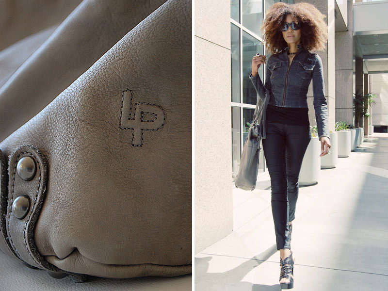 Ndoema wears a Linea Pelle leather tote bag.