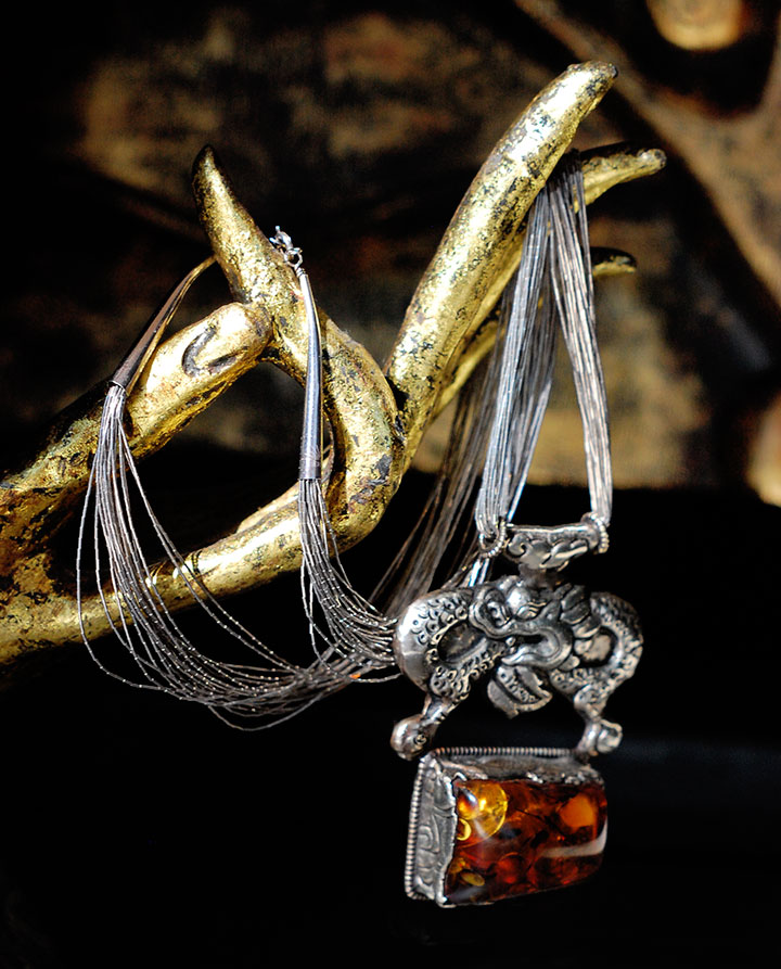 From Ndoema's Closet: Ouroboros ~ Amber and Sterling Silver Antique Dragon Necklace