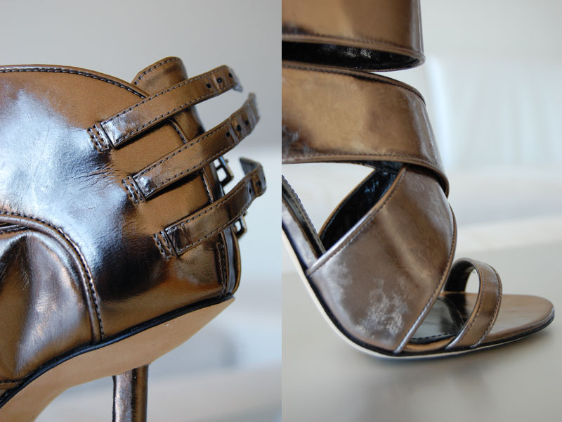Camilla Skovgaard sandals with brushed-steel metallic-leather and multi-buckle.