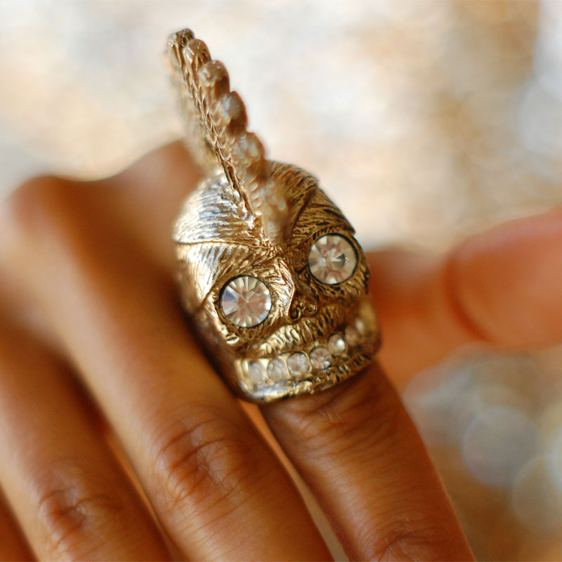 Gold Skull Ring with Swarovski Crystals