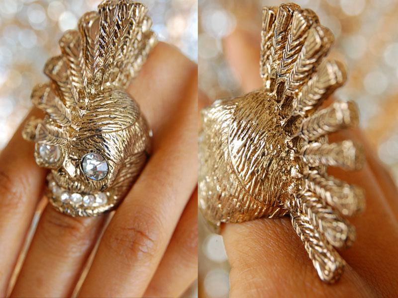 Gold Skull Ring with Swarovski Crystals
