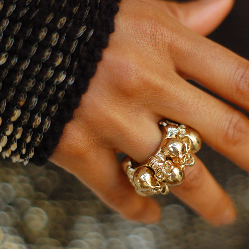 Gold Multiple Skulls Ring