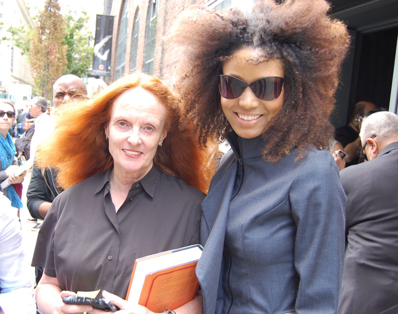 Ndoema The Global Girl and Grace Coddington photographed outside the Donna Karan Spring 2013 during New York Fashion Week