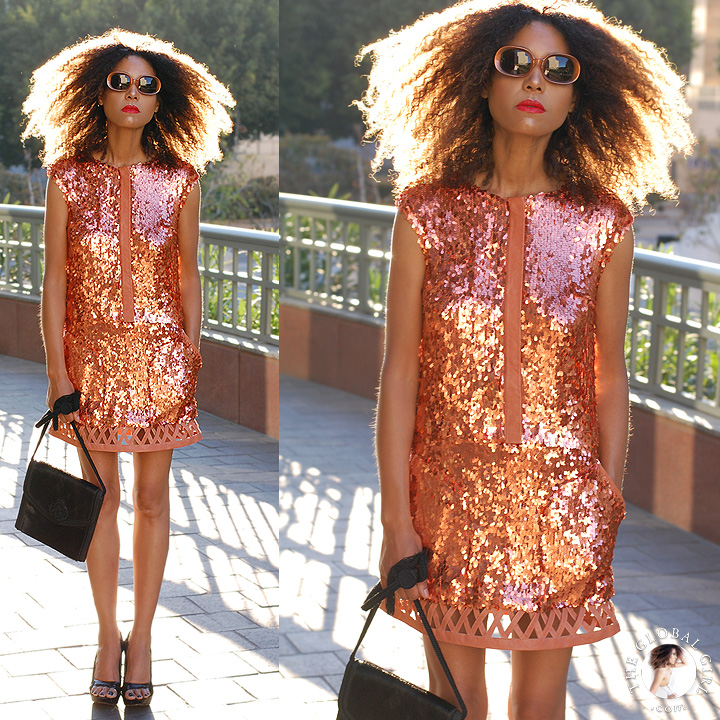 The Global Girl Daily Style: Ndoema dons a sequin mini dress from Son Jung Wan Spring 2014 with mod rounded sunglasses by Halston, vintage sequin wedges and a pony hair shoulder bag by Emanuel Ungaro.