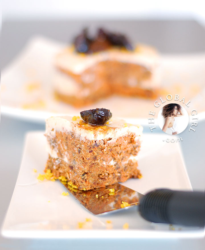 The Global Girl Raw Desserts Recipes: Raw Desserts: Raw Vegan Carrot Cake with Macadamia Lemon Cream and Sun Poached Figs. 100% raw, vegan, gluten-free, wheat-free, dairy-free, and with no refined sugar.