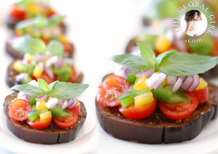 The Global Girl Raw Food Recipes: Eggplant bruschetta with tomato and basil. This healthy no bread Italian appetizer is vegan, gluten free, and dairy free.