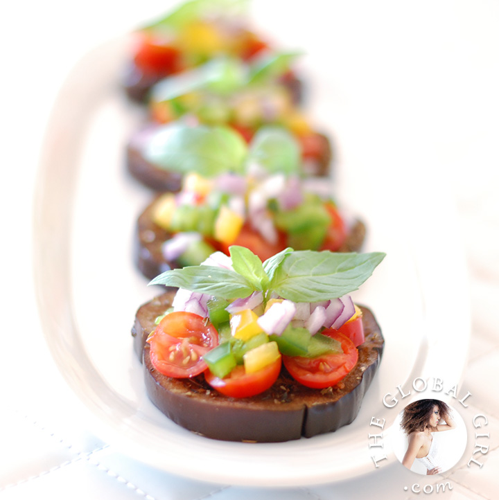Raw italian eggplant bruschetta the global girl the global girl raw food recipes eggplant bruschetta with tomato and basil this healthy forumfinder Images