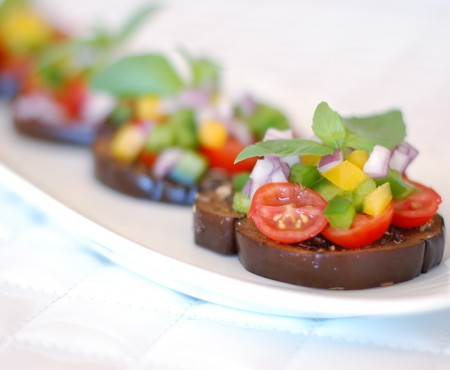 "The Global Girl Raw Food Recipes: Eggplant bruschetta with tomato and basil. This healthy ""no bread"" Italian appetizer is vegan, gluten free, and dairy free."