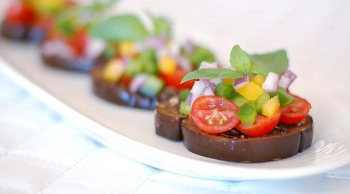 Raw Eggplant Bruschetta