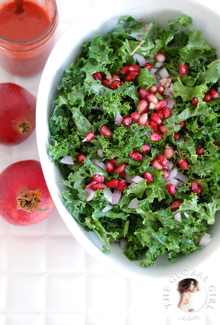 Raw Food Recipe: Raw Kale and Pomegranate Salad with Raspberry Dressing. This deliciously healthy salad is vegan, dairy free and gluten free.