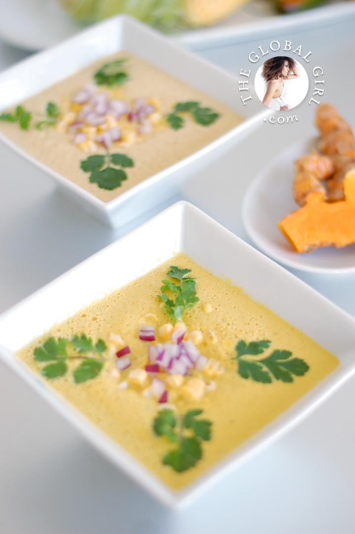 The Global Girl Raw Mexican Recipes: Raw Vegan Get-The-Glow Sopa de Elote (Fresh Corn Soup). 100% vegan, gluten-free and dairy free.