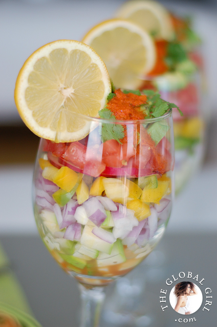 The Global Girl Raw Mexican Recipes: Raw Vegan Ceviche with Red Hot Salsa. 100% vegan, gluten-free and dairy free.