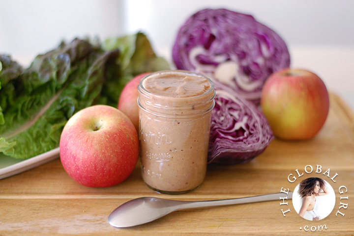 The Global Girl Raw Food Recipes: This healthy raw vegan apple and mustard dressing is oil free, fat free, dairy free and gluten free.