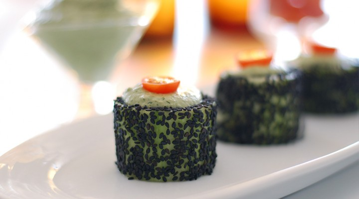 Cucumber Rolls with Herbed Cashew Cheese