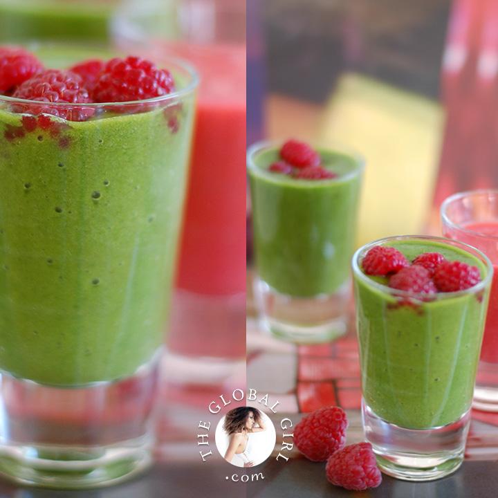 Green Smoothie: Kale & Raspberry Goodness