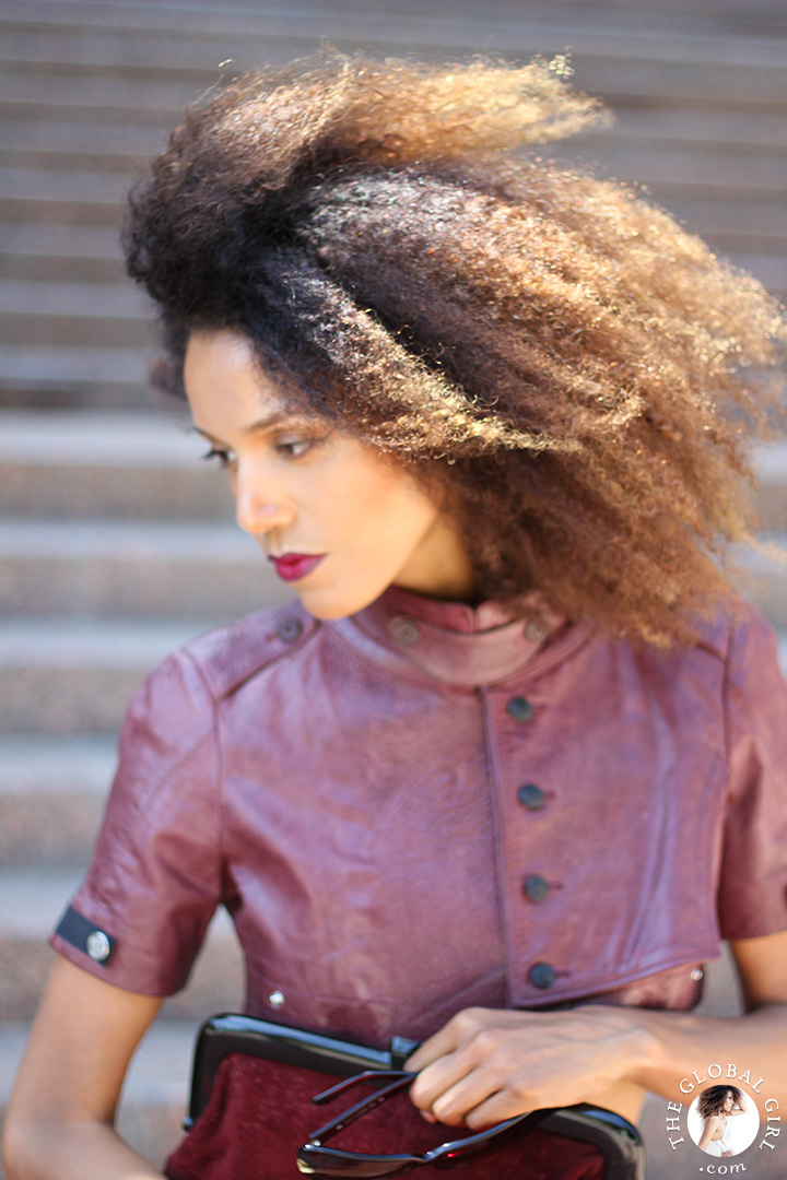 Ndoema is rocking a cropped leather jacket by Diesel  | Tom Ford lip color in bruised plum