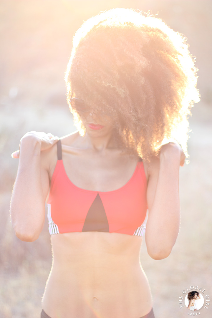 "Ndoema sports color blocking geo elastic bra top by of Onzie | Le Specs ""Galactica"" silver mirrored aviator sunglasses."