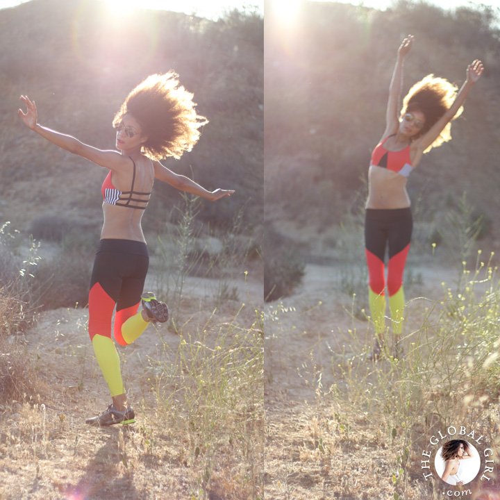 """Ndoema sports color blocking track leggings with matching geo elastic bra top by of Onzie 
