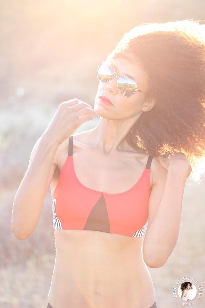 "Ndoema sports color blocking geo elastic bra top by of Onzie | Le Specs ""Galactica"" silver mirrored aviator sunglasses."