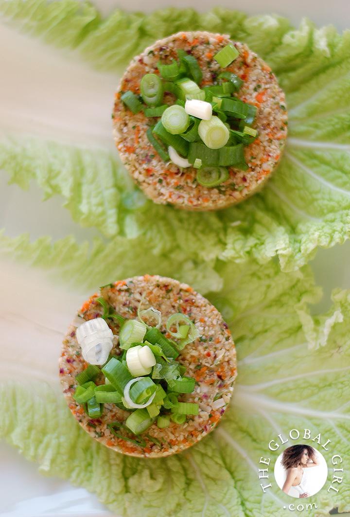 Raw cauliflower burgers. These delicious raw cauliflower burger patties are vegan, gluten free, dairy free and nut-free.