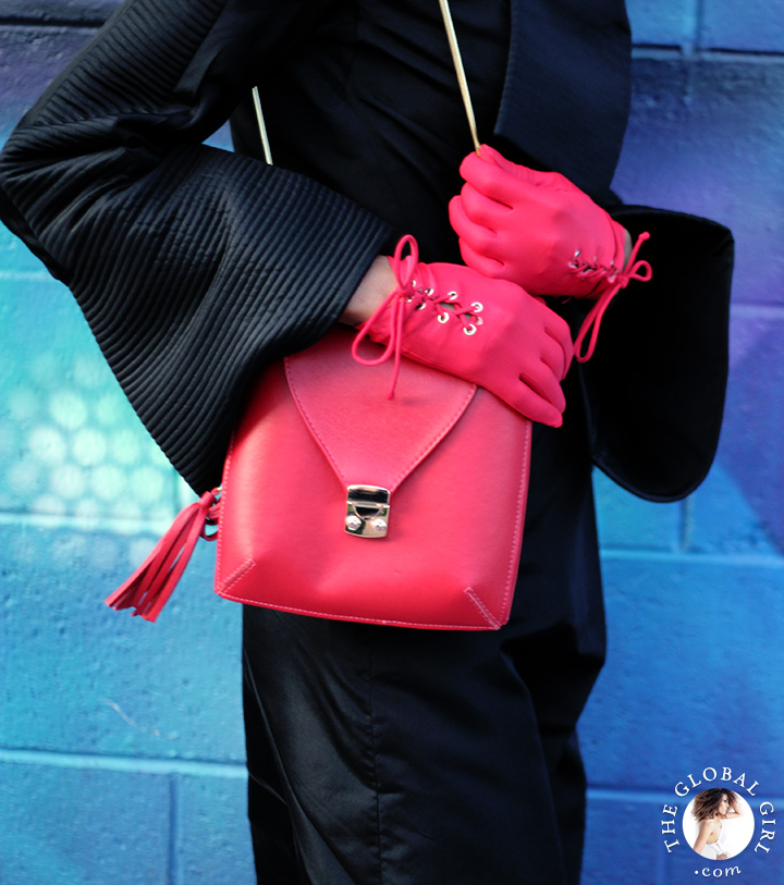 Red patent leather belt by Betsey Johnson, Onna Ehrlich red crossbody bag and vintage red gloves.
