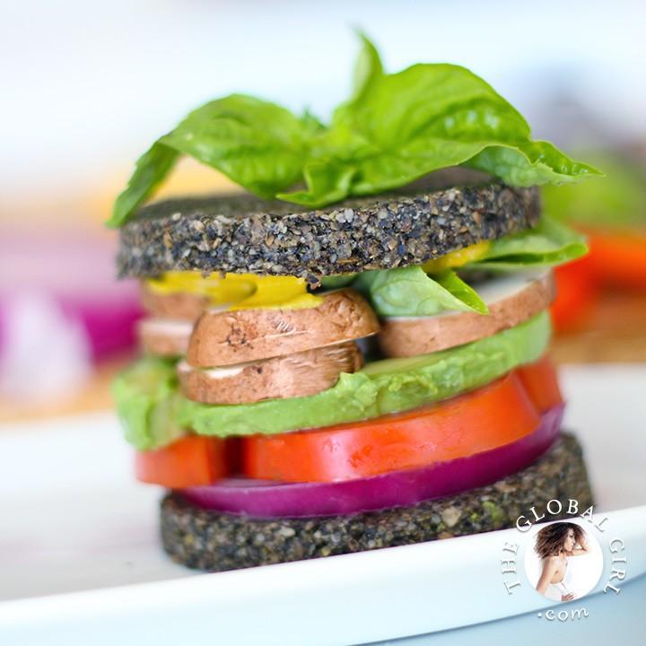 Avocado Sandwich on Raw Black Sesame Bread (Vegan & Gluten Free)