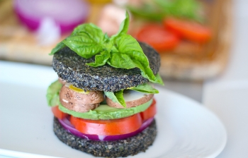 Avocado Sandwich on Raw Black Sesame Bread (Vegan & Gluten Free)