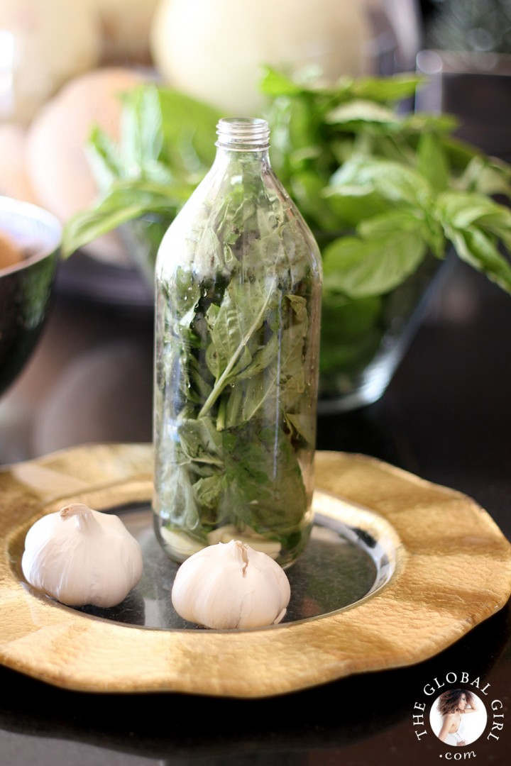 Basil and garlic infused olive oil recipe | THE GLOBAL GIRL ®