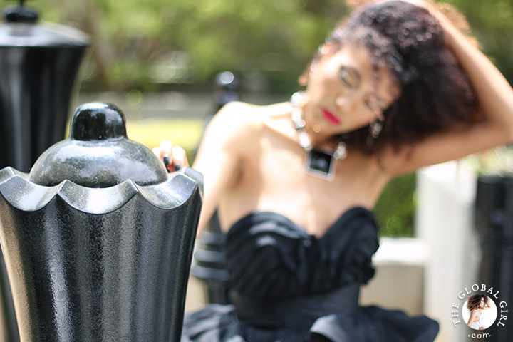 Ndoema sports a black tiered organza strapless gown by African designer Mimi Plange | The Global Girl Fashion Editorials