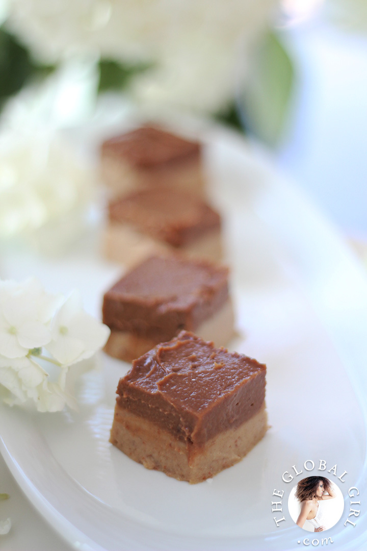 Chocolate Caramel Durian Fudge Brownies. 100% raw, vegan, gluten free, dairy free and nut free. The ultimate healthy decadent dessert!